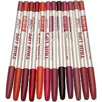 Bullidea 12pcs Professional Lipstick Lipliner Makeup Waterproof Lip Liner Pencil Set-15CM