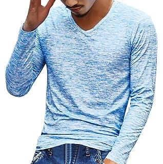 Sannysis Camisetas Manga Larga Hombre, Camisetas Interior de Manga Larga con Cuello en V Blusa