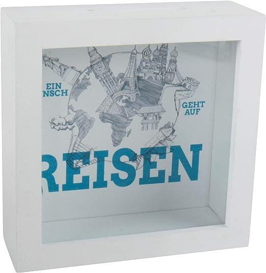 Spetebo Madera Hucha Viaje – Caja registradora Color Blanco – 15 x 15 cm – Hucha Vacaciones – Caja registradora con Ventana: Amazon.es: Juguetes y juegos