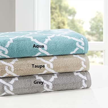 Madison Park Essentials Merritt Finest 100% Terry Cotton Jacquard Piece Super Soft Absorbent Geometric Fretwork Bathroom Towel Set Shower Hand Face Washcloths, Assorted Sizes, Aqua 6