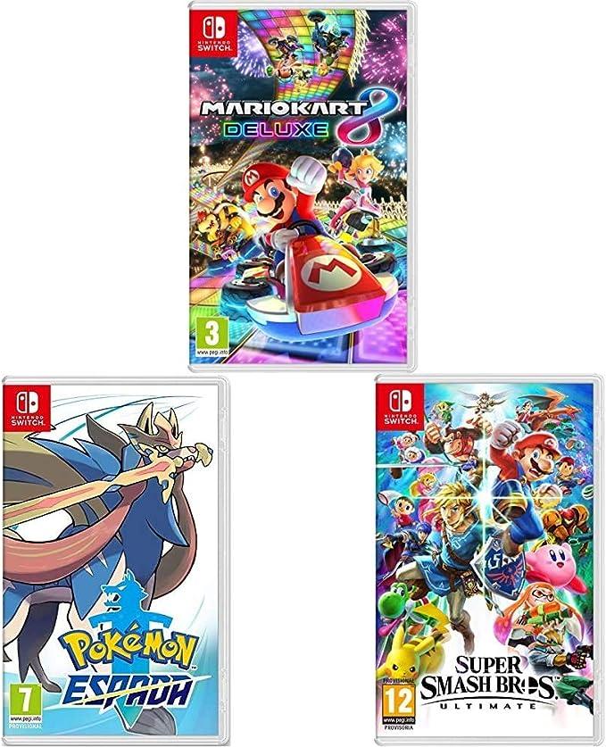 Nintendo Mario Kart 8 Deluxe + Super Smash Bros. Ultimate + Pokémon Espada Switch: Amazon.es: Videojuegos