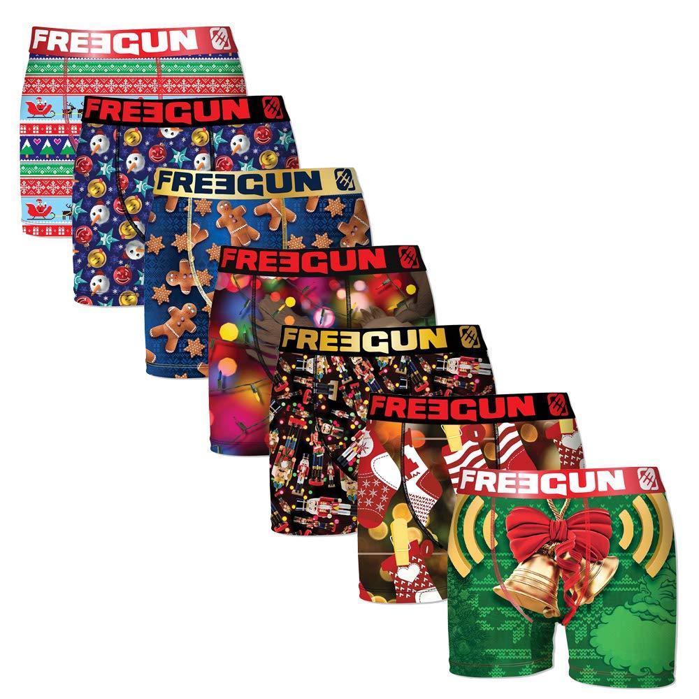 FREEGUN Bóxer para Hombre Paquete de 7 Special de la Navidad