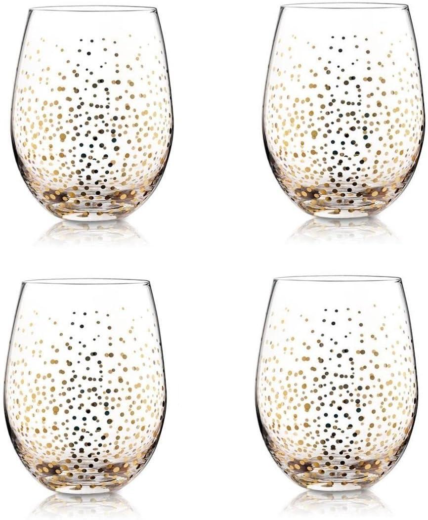 gold luster stemless wine glasses