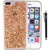 iPhone 8 Plus Case, iPhone 7 Plus Case, iYCK Bling Glitter Sparkle [Gold Foil Embedded] Flexible Soft Rubber Gel TPU Protective Case Cover for iPhone 7 Plus/iPhone 8 Plus 5.5inch - Champagne Gold