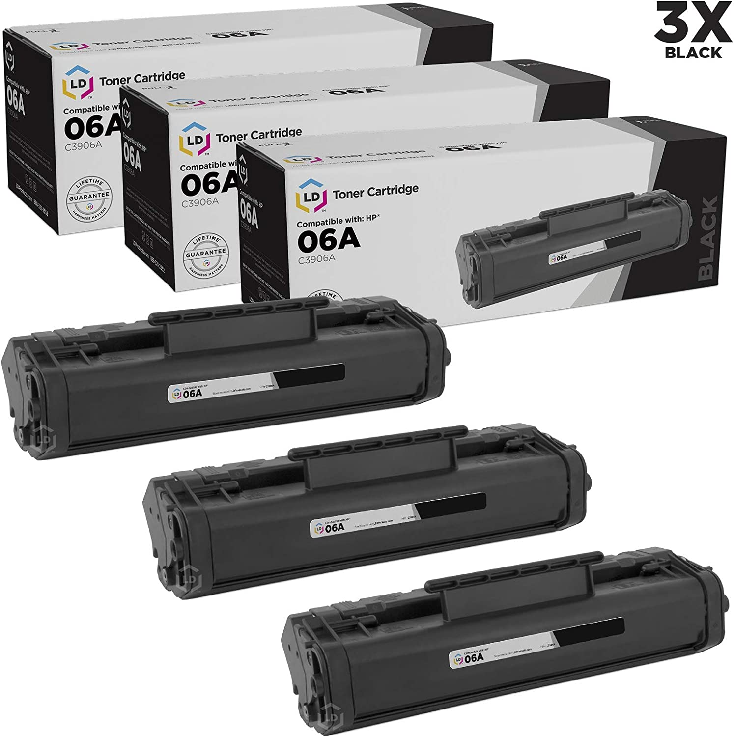 LD Remanufactured Toner Cartridge Replacement for HP 06A C3906A (Black, 3-Pack)