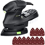 GALAX PRO Electric Orbital Sander,12000 OPM Mouse Detail Sander with 10 Pieces Sandpapers, 1.6 A Hand Sander with Power Cord and Dust Collection System (QD6306C)