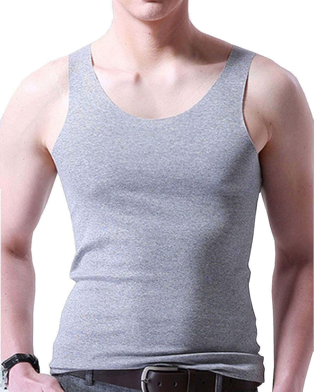Aeneontrue Mens Slim Tanktop Sleeveless No Trace Ice Silk Crew Neck High-Elastic Casual Bottoming Vest Undershirts Tanktops
