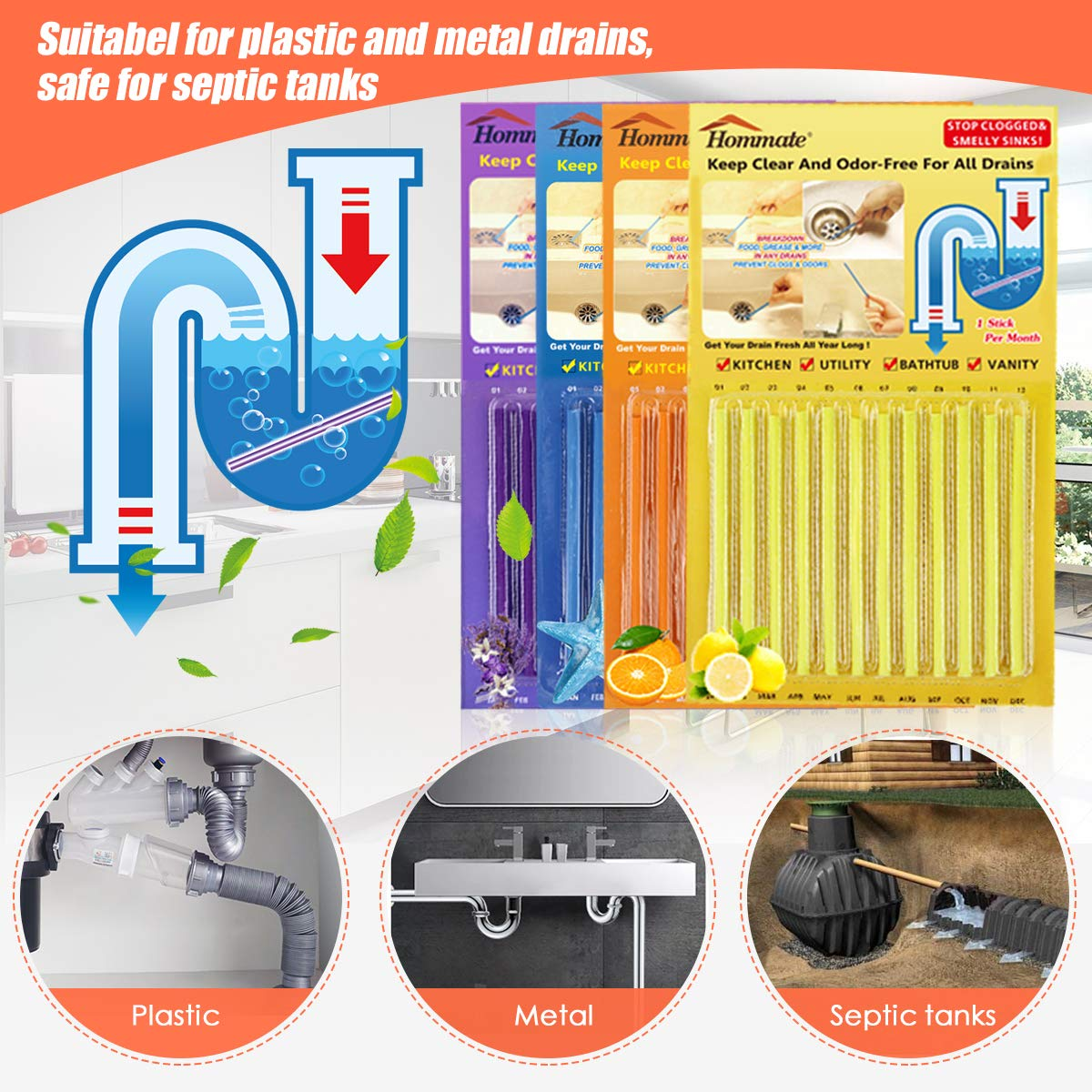 Drain Sticks Drain Stix Sink Sticks Drain Cleaner Deodorizer Sticks Drainstix for Preventing Future Clogs Eliminating Odor (Not Unclog Badly Clogged Drain) Septic Tank Safe