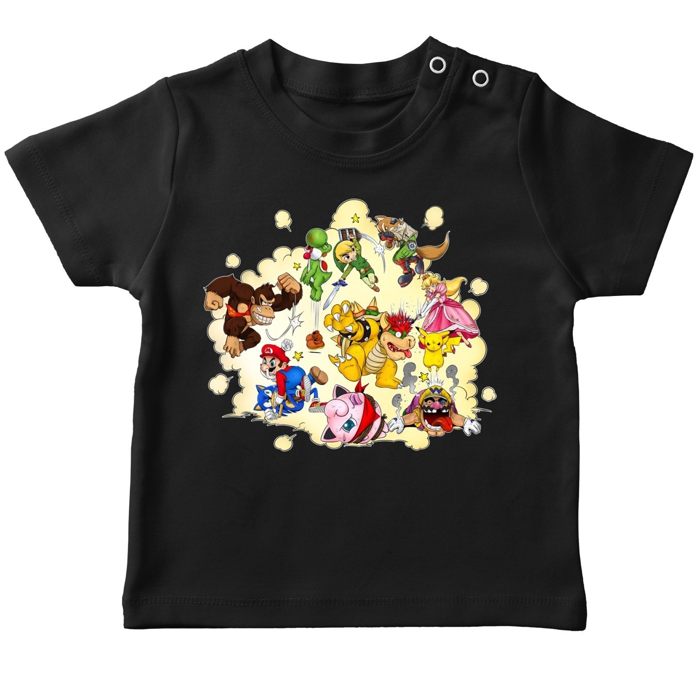 Funny Super Smash Bros T-Shirts - Mario, Link, Fox, Bowser, Pikachu and Wario (Super Smash Bros Parody)