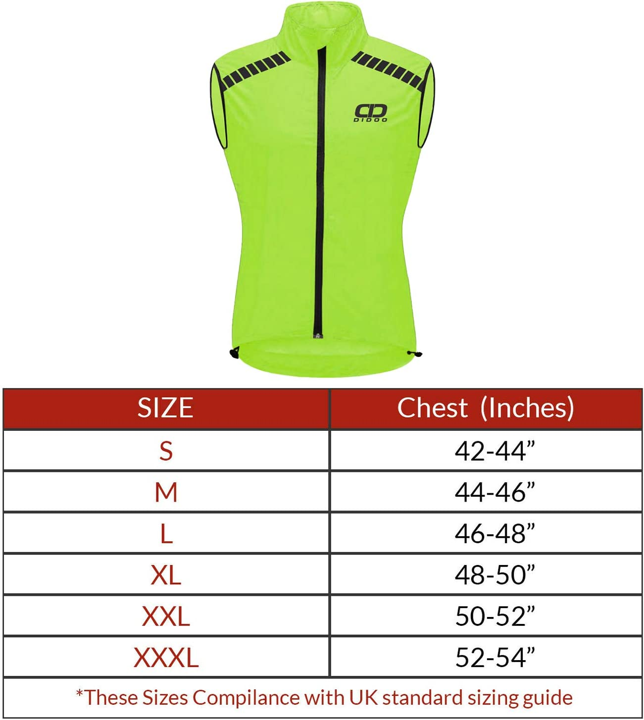 Didoo Cycling Gilet Men Reflective Running Vest for MTB Hi-Viz Windproof Safety Bicycle Biking Jacket