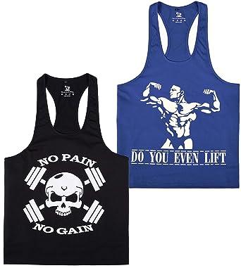 97862f06475fe YSENTO Mens Gym Tank Top Stringer Racerback Fitness Training Sleeveless T- Shirts 2 Pack Blue