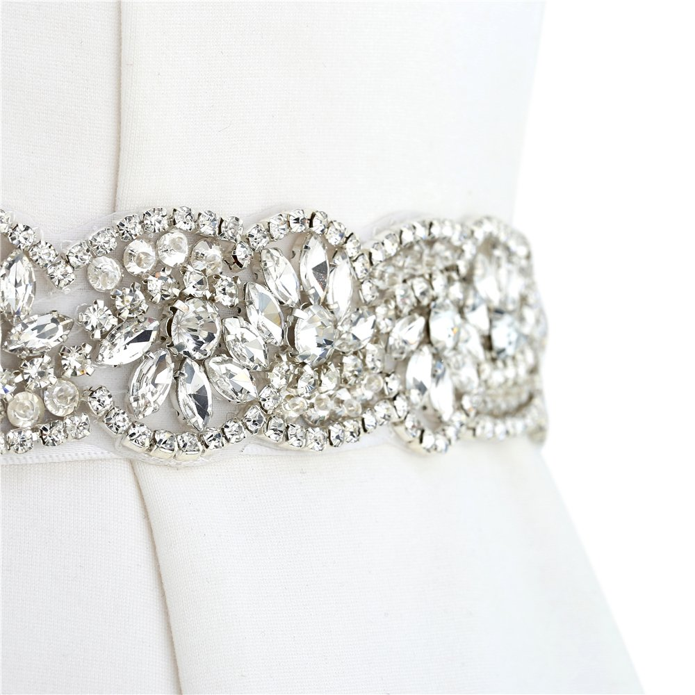 FANGZHIDI Wide Handmade Rhinestone Bead Trim for Bride Belt Wedding Dress HRA-024-3- Rose Gold Bridal Applique