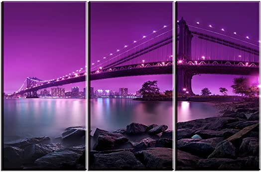Piy Painting 24 x36 Canvas Prints for Bedroom with Inner Frame Brooklyn Bridge, New York, Purple, 3 Panels