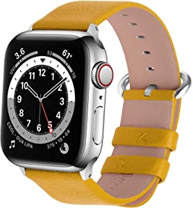 Fullmosa Compatible Apple Watch Band 42mm 44mm 40mm 38mm Calf Leather Compatible iWatch Band/Strap Compatible Apple Watch Series SE/6 Series 5 Series 4 Series 3 Series 2 Series 1, 44mm 42mm Yellow