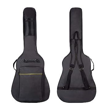 CAHAYA Funda de Guitarra Universal Acolchada con 2 bolsillos para Guitarra Acústica y Clásica con raya de color amarillo