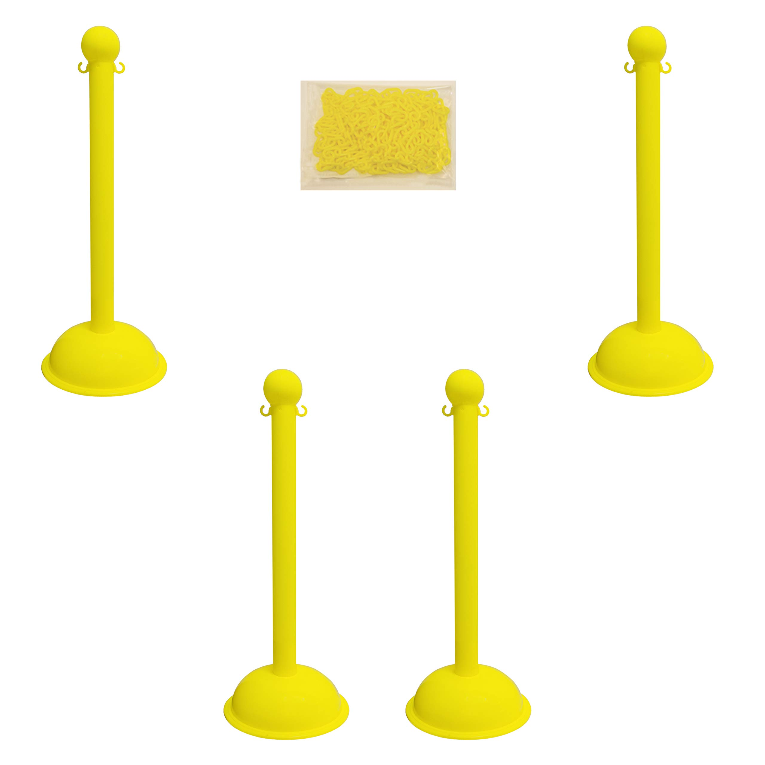 Mr. Chain 71302-4 Yellow Plastic Stanchion Kit with 30' of 2'' HD chain and C-Hooks, Pack of 4