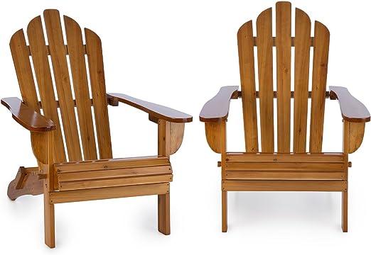 blumfeldt Vermont Set 2 sillas de jardín Estilo clásico Adirondack (Madera de Pino, 73x88x94 cm, Plegable, Resistente a Intemperie) - marrón: Amazon.es: Jardín