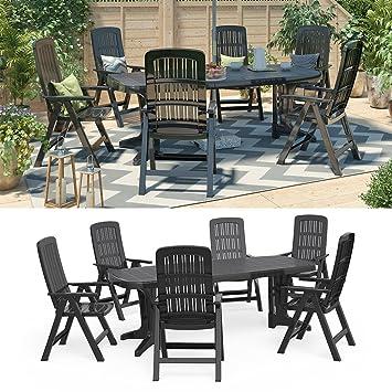 Amazon.de: Gartenmöbel 6+1 Sitzgruppe Tisch 220 x 95 cm ...