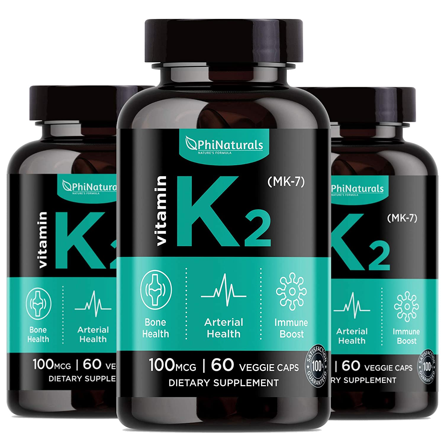 Vitamin K2 - MK7 (Pack of 3) - K2 100mcg - K2 Natto Supplement Complex - Support Bone Health Heart Teeth - Made in USA (60 Easy to Swallow Small Capsules)
