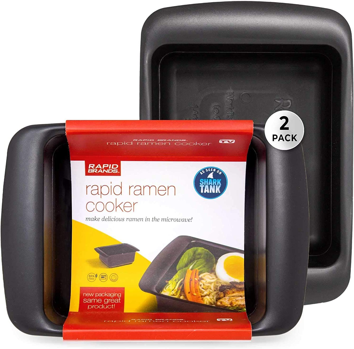 Rapid Ramen Cooker - Microwave Ramen in 3 Minutes - BPA Free and Dishwasher Safe | Perfect for Dorm, Small Kitchen, or Office (2-Pack,Black)