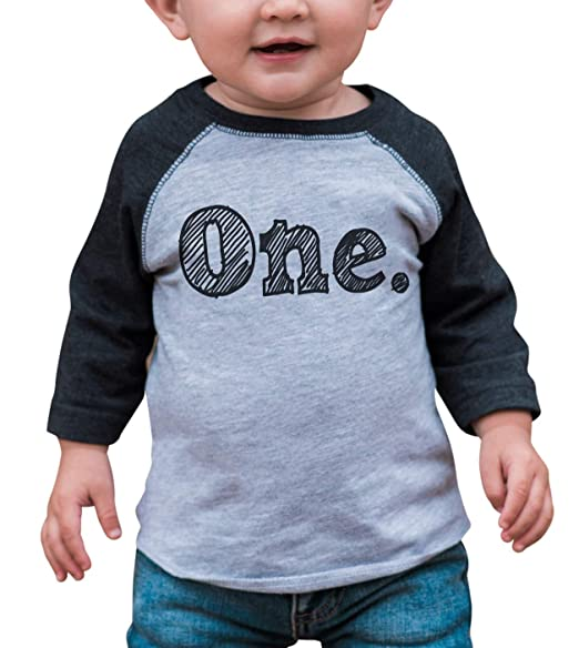 Custom Party Shop Boys First Birthday One Vintage Baseball Tee 12 Months Grey And Black