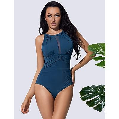 UK Women One Piece Mesh Swimwear Swimsuit Monokinis Push Up Padded Tummy Control