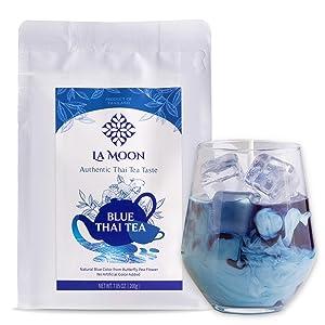 La Moon Tea- Blue Thai Tea, Traditional Loose Leaf Thai Tea Mix from Butterfly Pea Flower and Assam Black Tea, 100% Natural no Food Dye, Homemade Blue Thai Ice Tea, Thai Tea Latte, Boba Tea (7.05 Oz.)