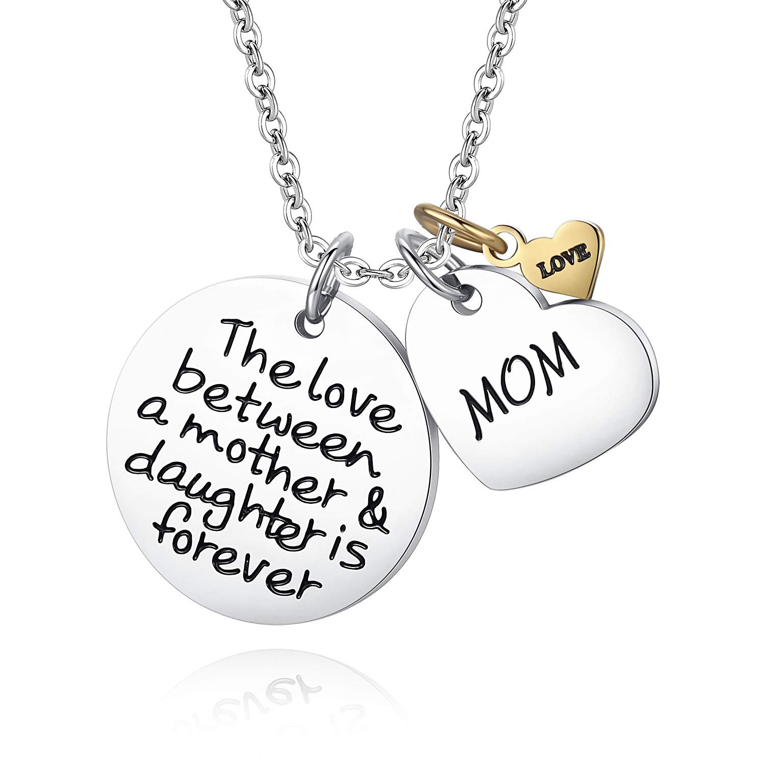 JSstudio Mom Birthday Gifts, Mother Daughter Stainless Steel Pendant Necklace Jewelry, The Love Between A Mother Daughter is Forever, Gift Mom Mother Women from Daughter, Mother Daughter Gifts