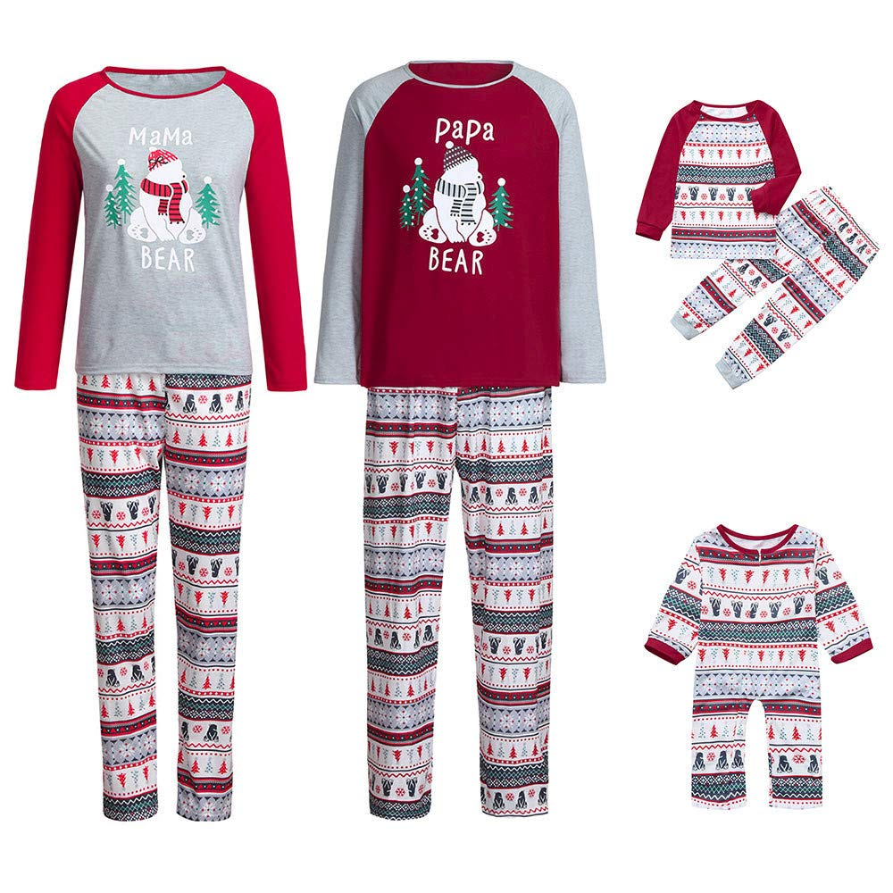 POLP Niño Pijamas Dos Piezas Familiares de Navideños Bebe Trajes Familiares Manga Larga Ropa de Noche Mujer Mamá Cuadros Blusa Pantalones Pijamas Familia Ropa de Dormir Juego de Navidad