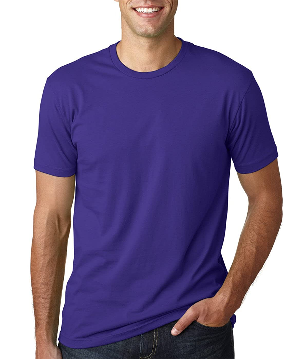 Black 2 Pack Next Level Mens Premium Fitted Short-Sleeve Crew T-Shirt - Small Purple Rush