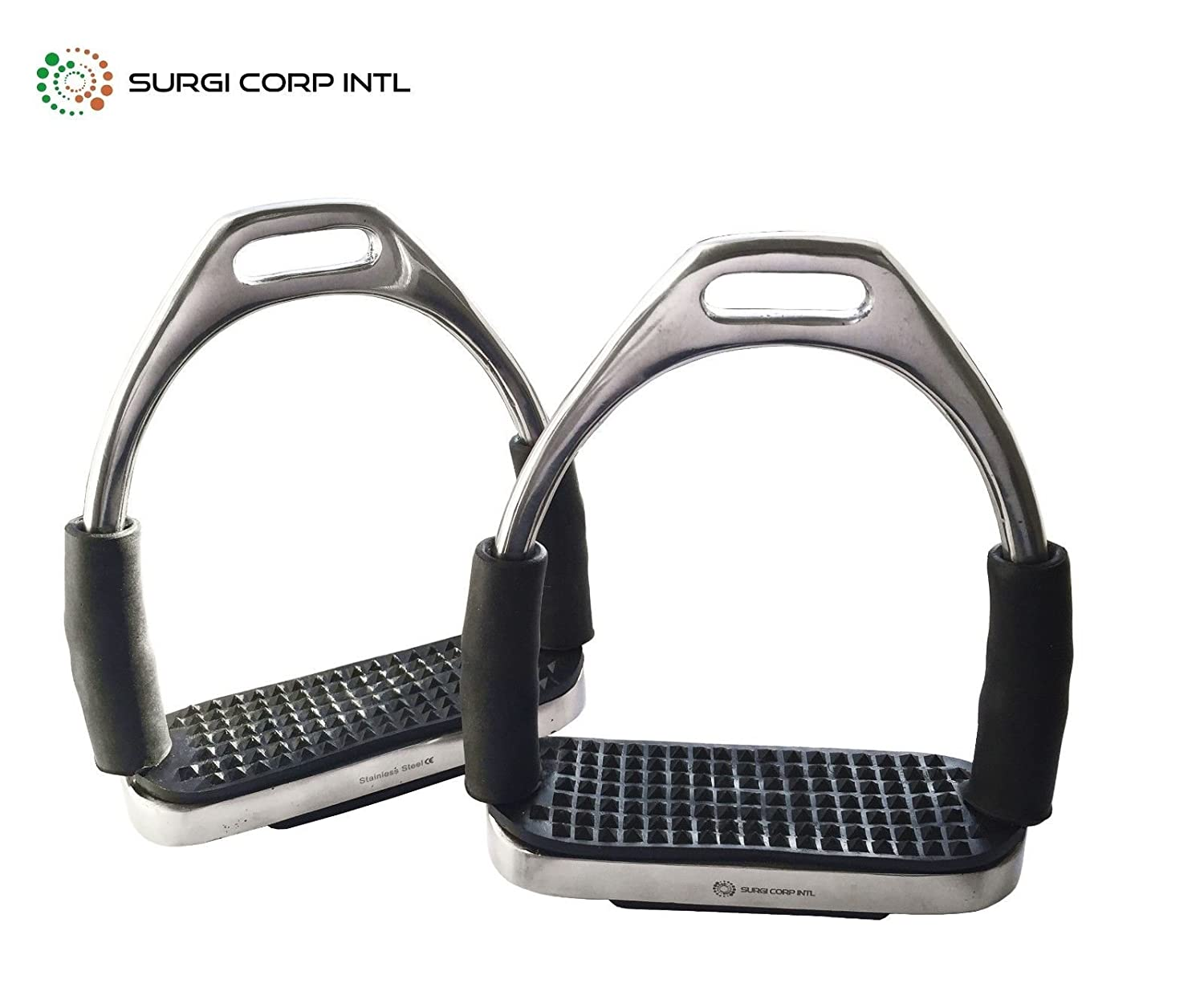 Surgi Corp Intl FLEXI SAFETY STIRRUPS HORSE RIDING BENDY IRONS STAINLESS STEEL (5.0')