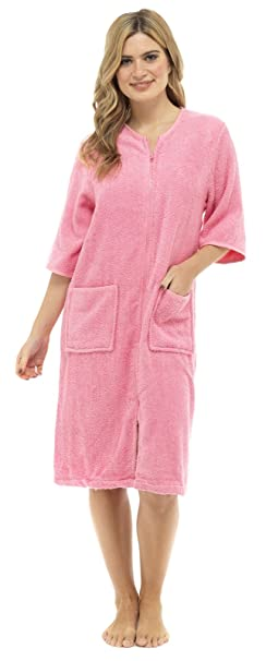 c89423019bc6 Lora Dora Womens Zip Through Dressing Gown  Amazon.co.uk  Clothing