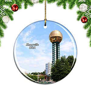 Weekino USA America Knoxville Christmas Xmas Tree Ornament Decoration Hanging Pendant Decor City Travel Souvenir Collection Double Sided Porcelain 2.85 Inch