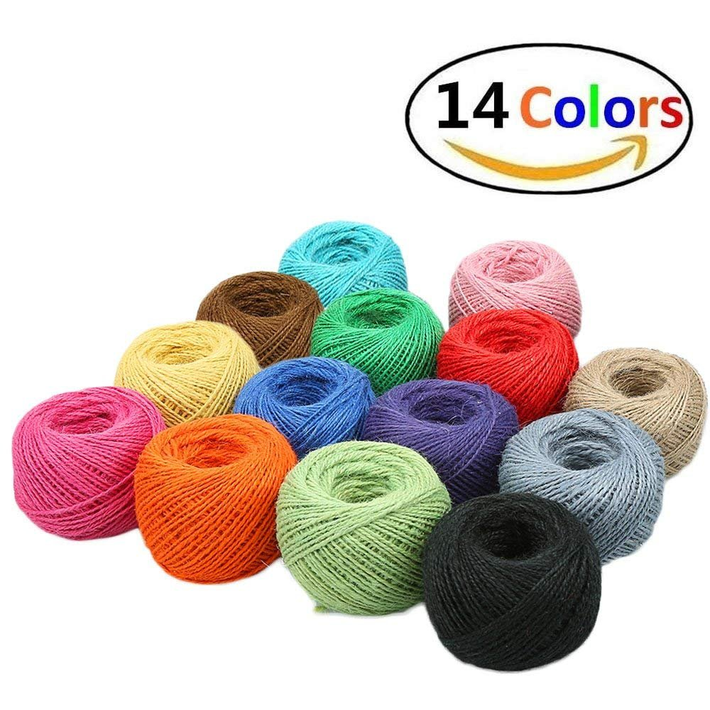 1148 Feet (383 Yards) 2mm 3 ply Colourful Natural Jute Twine - 14 Roll Jute String, Twine String for Artworks, DIY Crafts, Gift Wrapping Twine, Picture Display and Embellishments by HULISEN (Image #7)