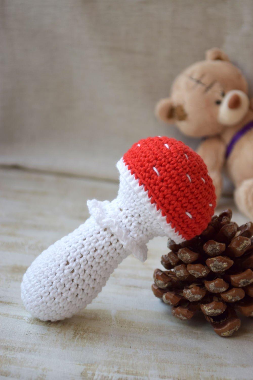 Crochet Rattle Baby mushroom toy