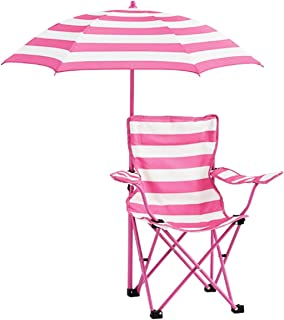 Heritage Kids NK656571 Rugby Stripe C& Chair Pink  sc 1 st  Amazon.com & Amazon.com: Kidsu0027 Beach Chair with Adjustable Umbrella - Blue ...