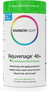 Rainbow Light - RejuvenAge™ 40+ Multivitamin - Supports Energy & Immunity in Adults Over 40 - 120 Tablets
