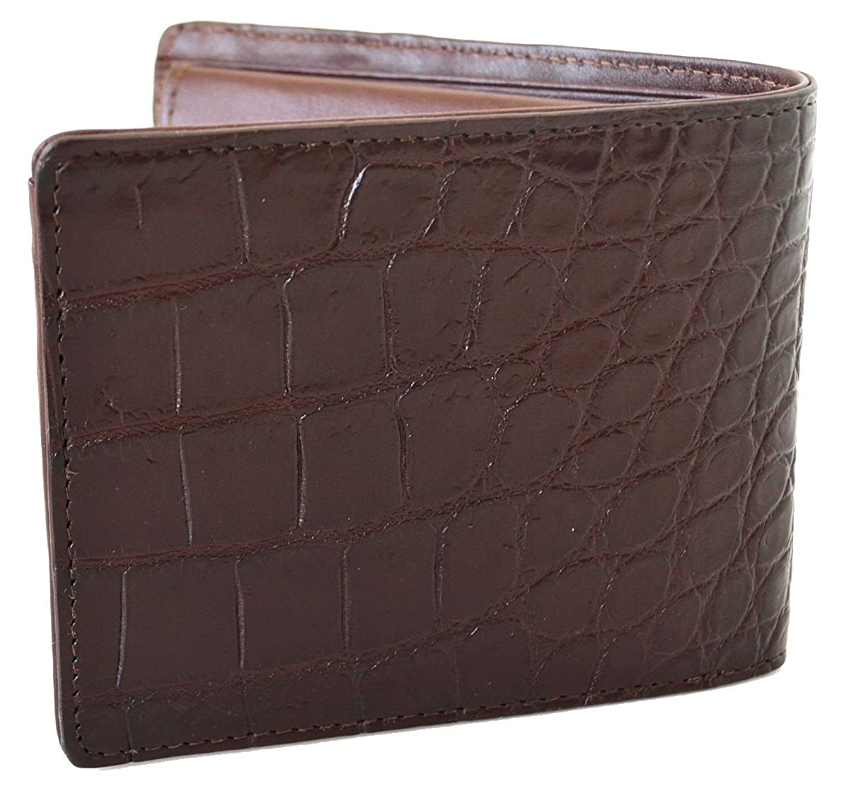 c5490c218261 Authentic M Crocodile Skin Men's Bifold Backbone Leather Dark Brown Wallet