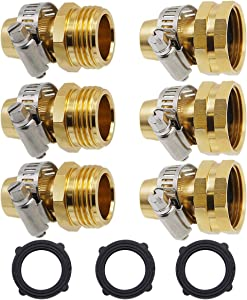 Lifynste Garden Hose Repair Connector with Clamps, Male and Female Garden Hose Fitting, 3 Set