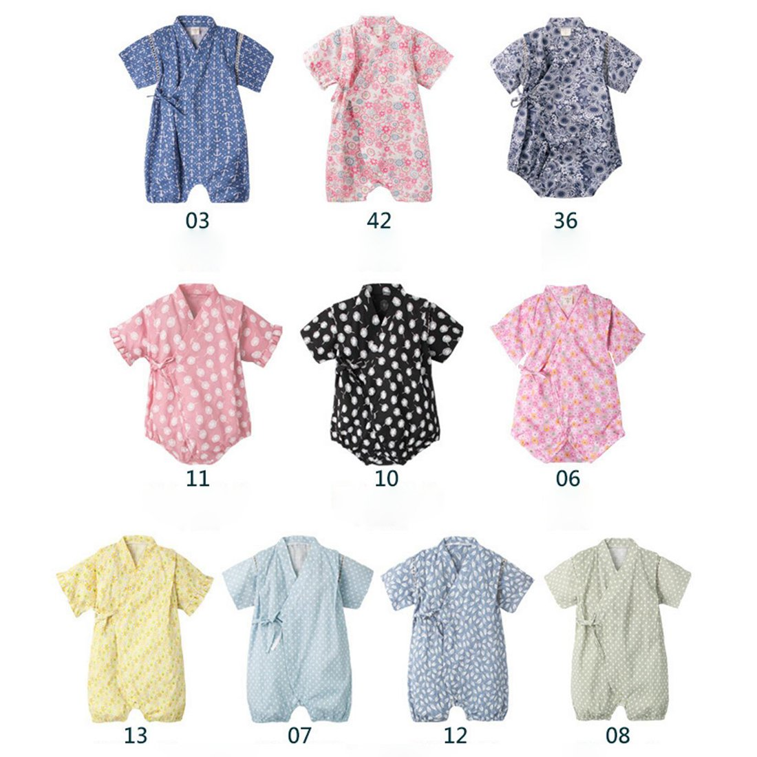 Amazon.com: PAUBOLI Baby Romper Kimono Robe Cotton Japanese Pajamas ...