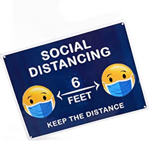 "Emoji Social Distancing Sign Made of Tin Metal for Your Wall- Ideal for an Office, Restaurant, School, Store, and More. 10"" x 14"" (with Face Mask)"