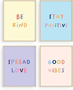 HAUS AND HUES Inspirational Wall Art Print Quotes - Set of 4 Motivational Art Prints Posters for Teen Girls Room | Positive Be Kind Wall Decor for Girls Bedroom, UNFRAMED (11x14)
