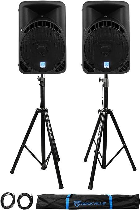 "9 Rockville RPG9BT 9"" Active BlueTooth Wireless Link DJ  Speakers+Stands+Cables"