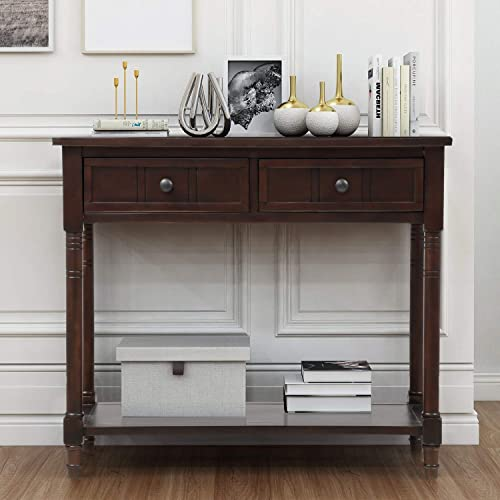 Pine Wood Media Console Table for Entryway Hallway, with Drawers and Shelf, Chestnut