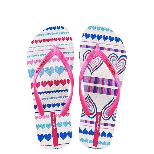 9aedbba47f1afc Hotmarzz Women s Heart Shape Printing Summer Beach Slippers Tong Sandals  Flat Slides Size 1 UK