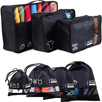 Multi-function Waterproof Laundry Bags Travel Packing Cube 7pc Value Set