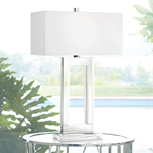 Modern Table Lamp Clear Crystal Glass White Box Rectangular Shade for Living Room Family Bedroom Nightstand – Vienna Full Spectrum
