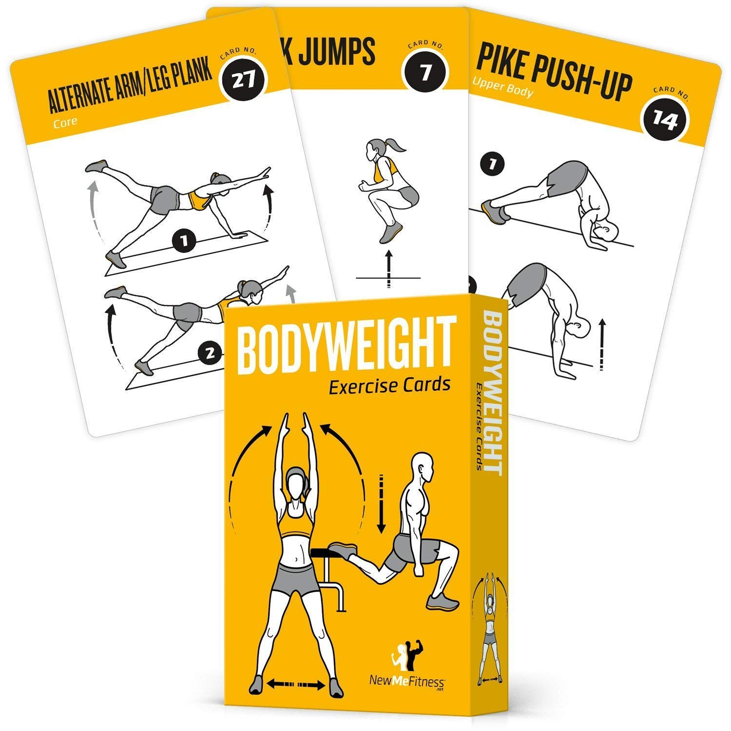 Exercise Cards BODYWEIGHT - Home Gym Workout Personal Trainer Fitness Program Guide Tones Core Ab Legs Glutes Chest Biceps Total Upper Body Workouts Calisthenics Training Routine