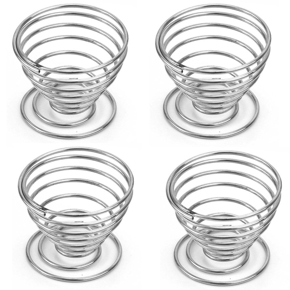 JUNGEN Metal Spring Wire Egg Tray Boiled Egg Cups Holder Storage Stand Pack Of 4