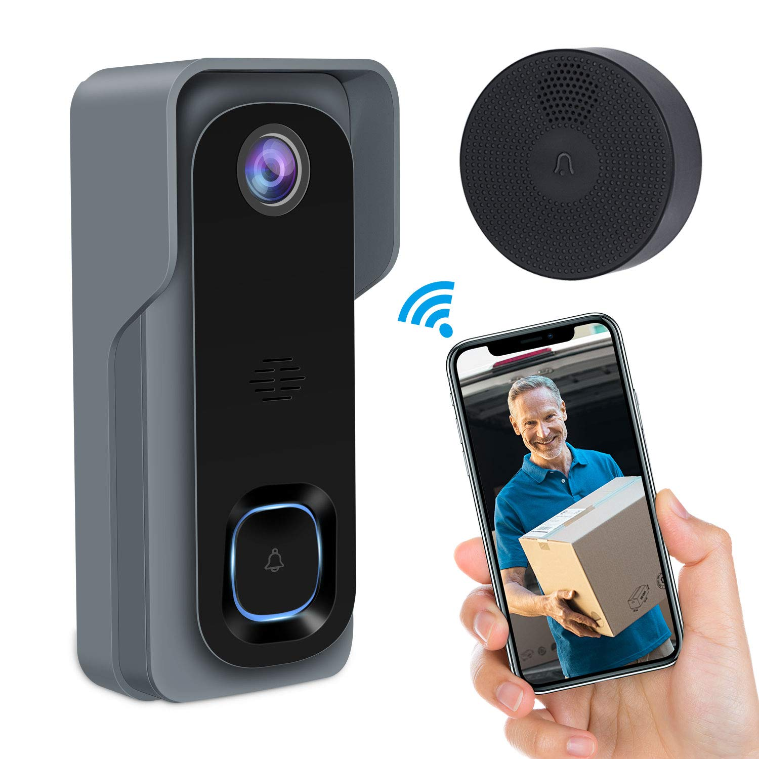 Video Doorbell,GEREE WiFi Smart Wireless Doorbell 1080P HD Security Home Camera Real-Time Video and Two-Way Talk, Night Vision, PIR Motion Detection 166 Wide Angle Lens 2019 Newest Upgrade